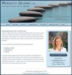 Screen capture of the Meredith Gelman website.