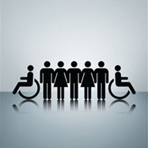 Symbols representing disabled people, women and men